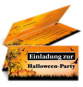Einladungskarte Halloween Pumpkin Falz Oben Orange
