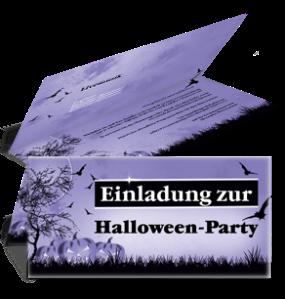 Einladungskarte Halloween Pumpkin Falz Oben Violett