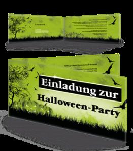 Einladungskarte Halloween Pumpkin Falz Seite Gruen