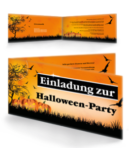 Einladungskarte Halloween Pumpkin Falz Seite Orange
