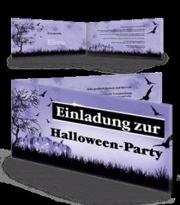 Einladungskarte Halloween Pumpkin Falz Seite Violett