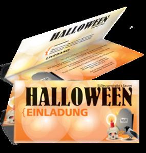 Einladungskarte Halloween RIP Falz Oben Orange
