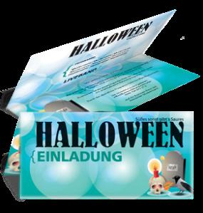Einladungskarte Halloween RIP Falz Oben Tuerkis