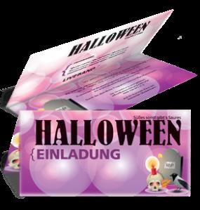 Einladungskarte Halloween RIP Falz Oben Violett