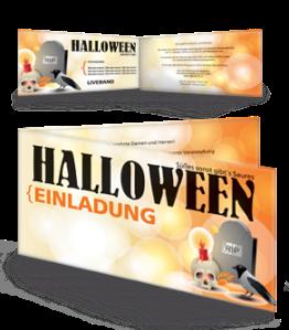 Einladungskarte Halloween RIP Falz Seite Orange