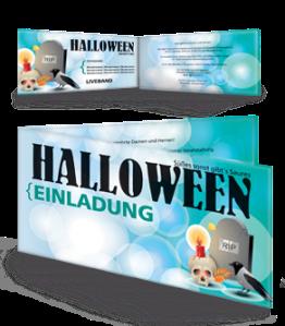 Einladungskarte Halloween RIP Falz Seite Tuerkis