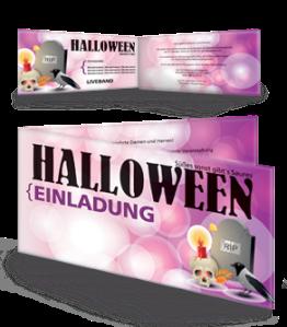 Einladungskarte Halloween RIP Falz Seite Violett