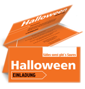 Einladungskarte Halloween Simple Orange Falz Oben
