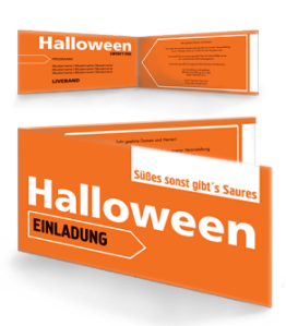 Einladungskarte Halloween Simple Orange Falz Seite