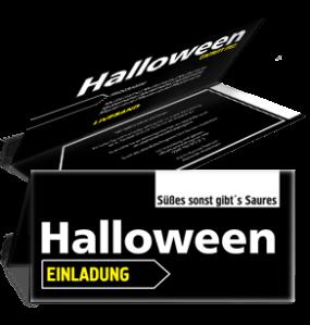 Einladungskarte Halloween Simple Schwarz Falz Oben