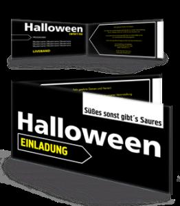 Einladungskarte Halloween Simple Schwarz Falz Seite