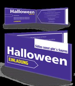 Einladungskarte Halloween Simple Violett Falz Seite