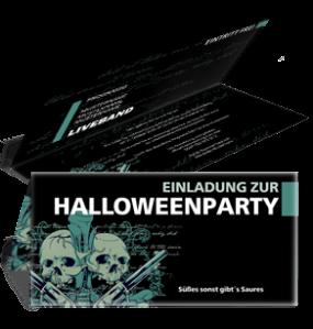 Einladungskarte Halloween The Reaper Falz Oben Blau