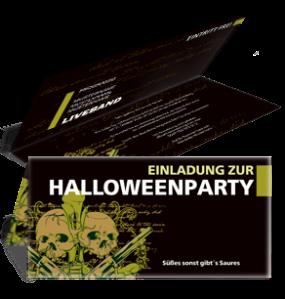 Einladungskarte Halloween The Reaper Falz Oben Gelb
