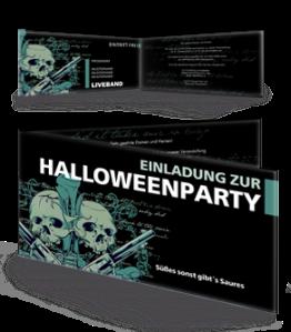 Einladungskarte Halloween The Reaper Falz Seite Blau