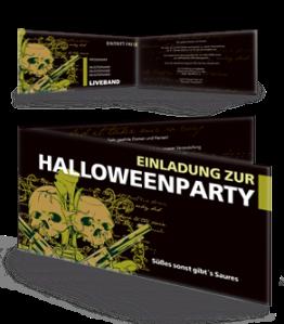 Einladungskarte Halloween The Reaper Falz Seite Gelb