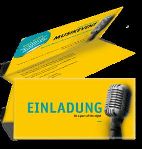 Einladungskarte Musik Mikrofon Gelb Falz Oben