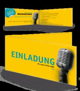 Einladungskarte Musik Mikrofon Gelb Falz Seite