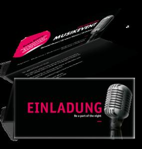 Einladungskarte Musik Mikrofon Schwarz Falz Oben