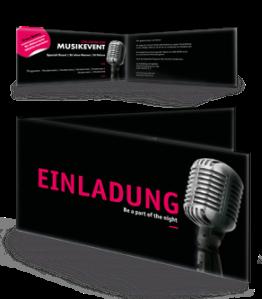 Einladungskarte Musik Mikrofon Schwarz Falz Seite