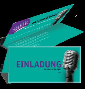 Einladungskarte Musik Mikrofon Tuerkis Falz Oben