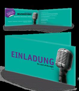 Einladungskarte Musik Mikrofon Tuerkis Falz Seite