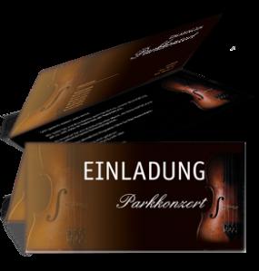 Einladungskarte Musikfest Geige Falz Oben Braun
