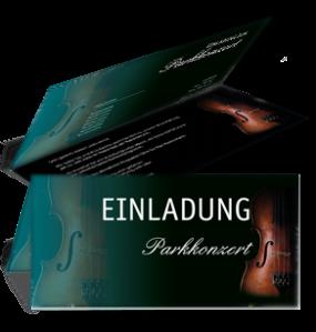 Einladungskarte Musikfest Geige Falz Oben Tuerkis