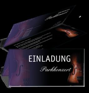 Einladungskarte Musikfest Geige Falz Oben Violett
