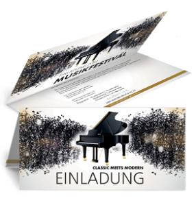 Einladungskarte Musikfest Meldody Falz Oben Gold