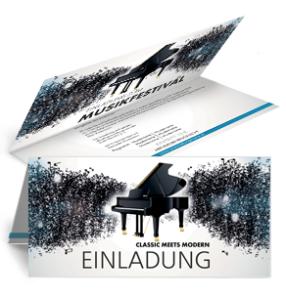 Einladungskarte Musikfest Melody falz Oben Blau