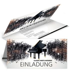Einladungskarte Musikfest Melody Falz Oben Schwarz