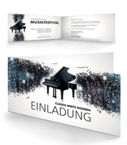 Einladungskarte Musikfest Melody Falz Seite Blau