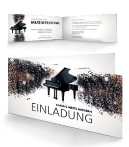 Einladungskarte Musikfest Melody Falz Seite Schwarz