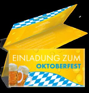 Einladungskarte Oktoberfest Biertropfen Falz Oben Blau