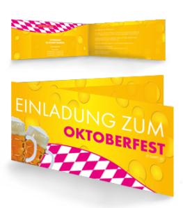 Einladungskarte Oktoberfest Biertropfen Falz Seite Pink