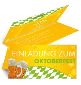 Einladungskarte Oktoberfest Bietropfen Falz Oben Gruen