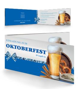 Einladungskarte Oktoberfest Craft Beer Blau Falz Seite