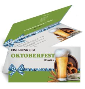 Einladungskarte Oktoberfest Craft Beer Gruen Falz Oben