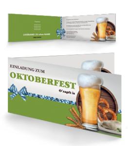 Einladungskarte Oktoberfest Craft Beer Gruen Falz Seite