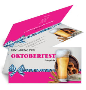 Einladungskarte Oktoberfest Craft Beer Pink Falz Oben