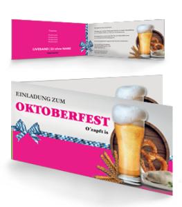 Einladungskarte Oktoberfest Craft Beer Pink Falz Seite
