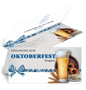 Einladungskarte Oktoberfest Craft Beer Weiss Falz Oben