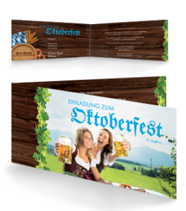 Einladungskarte Oktoberfest Damen Falz Seite Blau