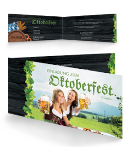 Einladungskarte Oktoberfest Damen Falz Seite Gruen