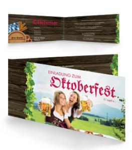 Einladungskarte Oktoberfest Damen Falz Seite Rot