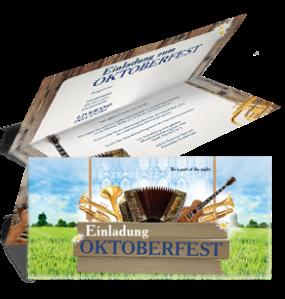 Einladungskarte Oktoberfest Instrumente Falz Oben Blau