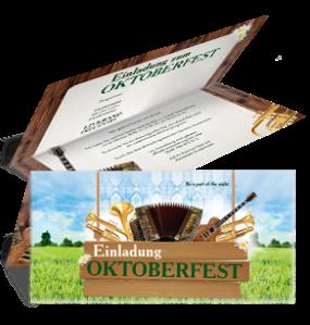 Einladungskarte Oktoberfest Instrumente Falz Oben Gruen