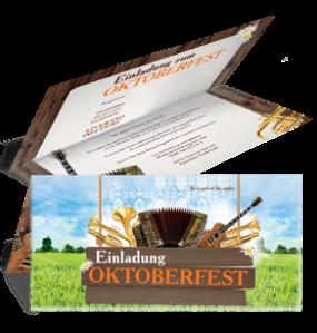 Einladungskarte Oktoberfest Instrumente Falz Oben Orange