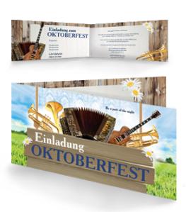 Einladungskarte Oktoberfest Instrumente Falz Seite Blau